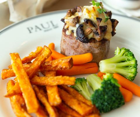 Mushroom crusted beef filet